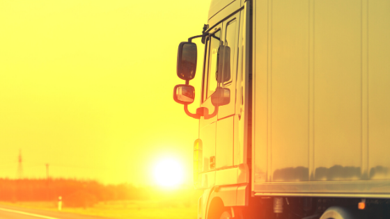 Truck in sunset