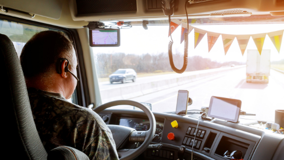 Trucker with decoration in the cabin